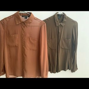 Two button down blouses